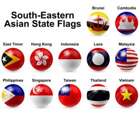 South eastern asian state spherical flags vector