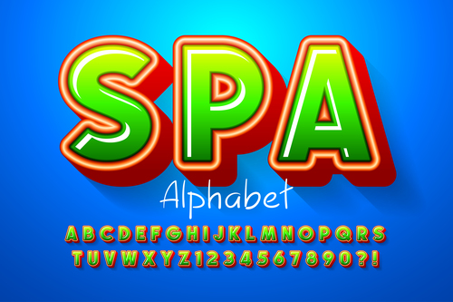 Spa alphabet illustrator text style effect vector