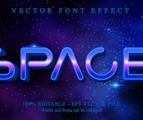 Space 3d editable text style effect vector