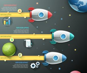 Space exploration templates of infographics vector