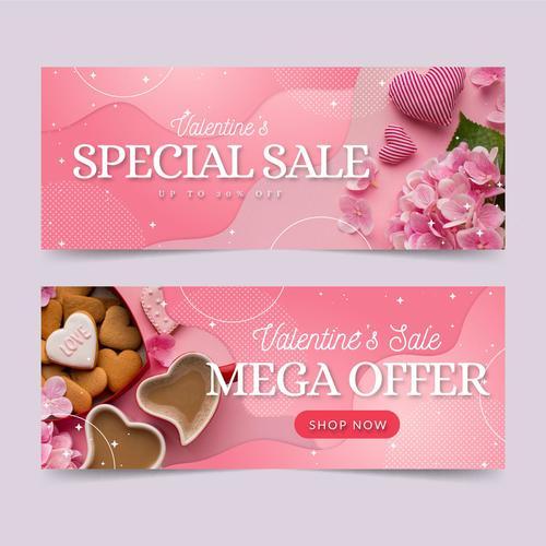 Speclal sale valentine banner vector