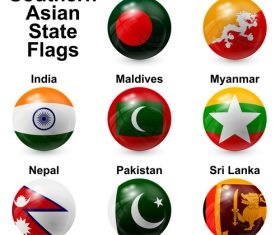 Spherical southern asian state flags vector