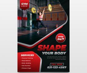 Sport poster with photo vector