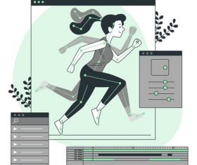 Sport posture cartoon illustration vector