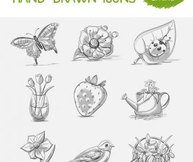 Spring hand drawn icons vector