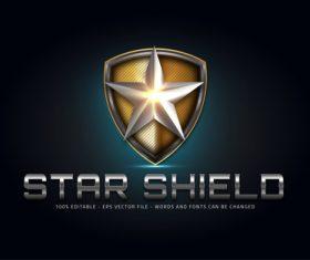 Star shield 3d editable text vector