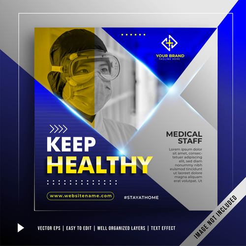 Stay healthy banner promotion template vector