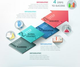 Step global strategy templates of Infographics vector
