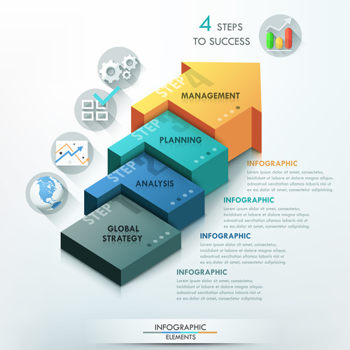 Steps to success templates of infographics vector