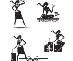 Stewardess silhouette vector