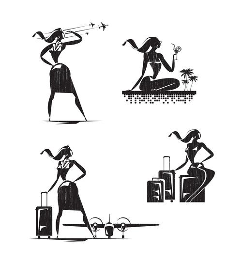 Stewardess silhouette vector