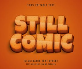 Still comic 3d editable text vector