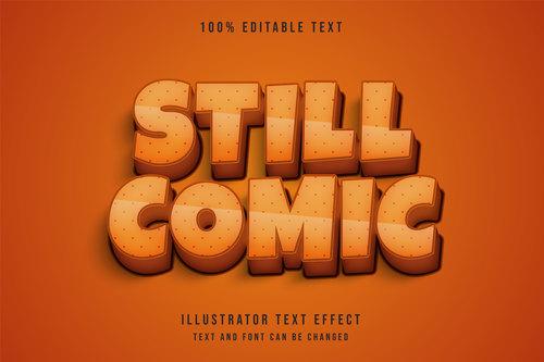 Still comic 3d editable text vector