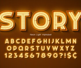 Story and alphabet illustrator text style effect vector