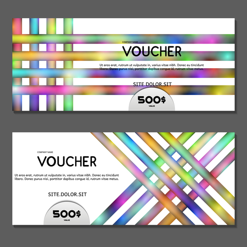 Striped background gift card voucher vector
