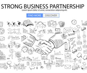 Strong business partnership information background vector