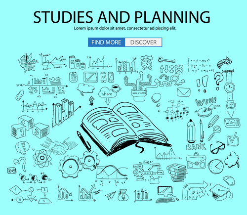 Studies and planning sketch concept vector