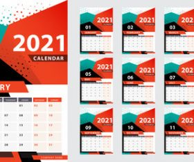 Stylish geometric 2021 calendar year vector