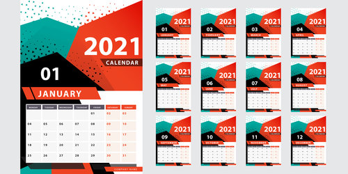 Stylish geometric 2021 calendar year vector
