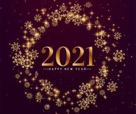 Stylish snowflakes happy new year 2021 vector
