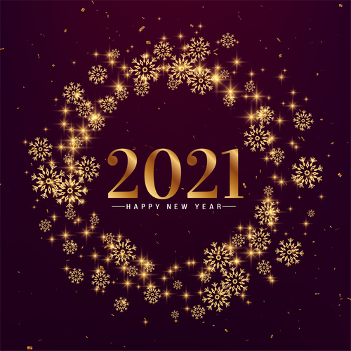 Stylish snowflakes happy new year 2021 vector
