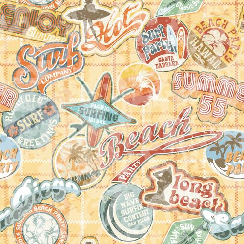 Summer cartoon label vector