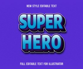 Super hero text style effect vector
