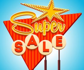 Super sale billboard vector