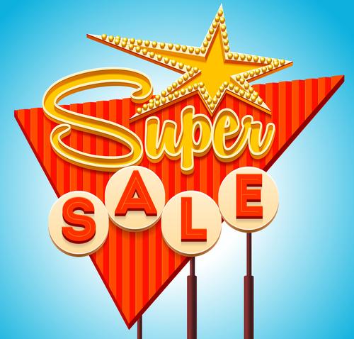 Super sale billboard vector