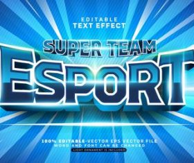 Super team esport text effect vector