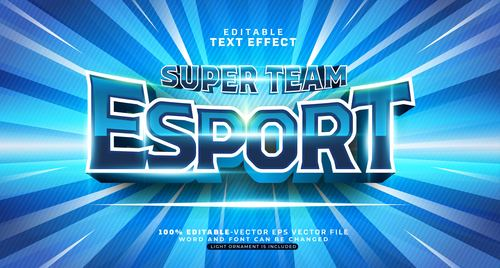 Super team esport text effect vector