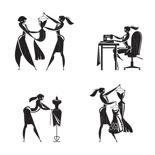 Tailor shop silhouette vector