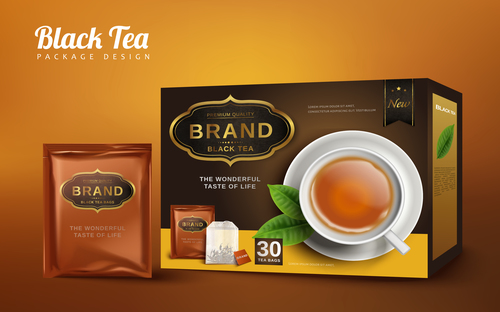 Tea packaging box vector