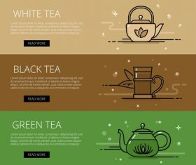 Tea time line vector web banners set
