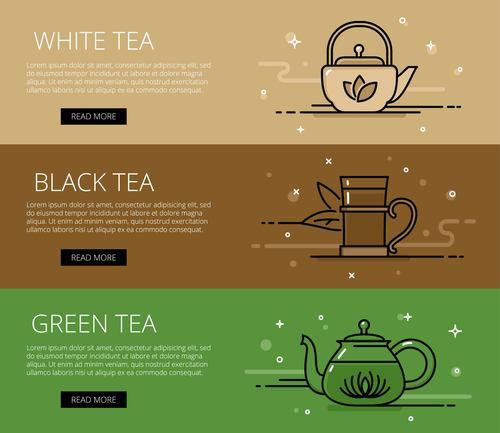 Tea time line vector web banners set