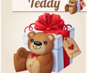 Teddy toy gift vector
