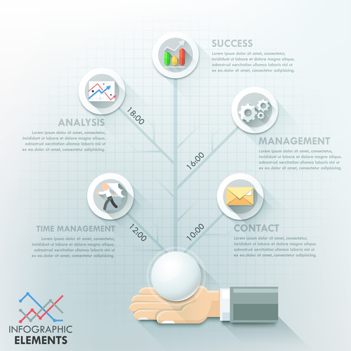 Templates of Infographics time management vector