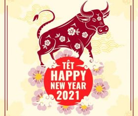 Tet new year 2021 greeting card vector
