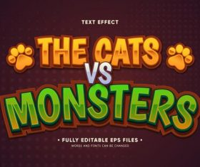 The cats vs monsters editable text effect vector