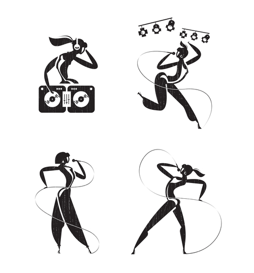 The girl at the club silhouette vector