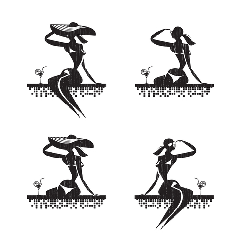The girl at the resort silhouette vector