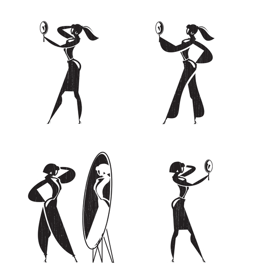 The girl looks in the mirror silhouette vector