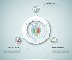Three steps to success templates of infographics vector