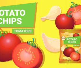 Tomatos potato chips poster vector