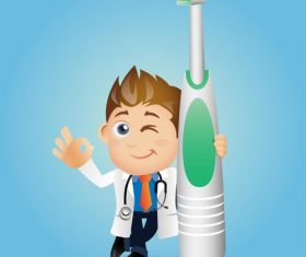 Tooth brushing is important cartoon vector