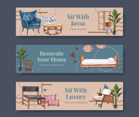 Top quality furniture sale flyer vector