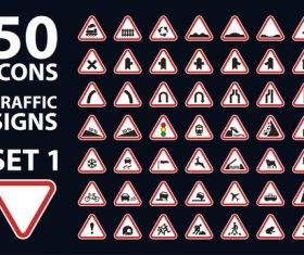 Traffic signs icon set vector