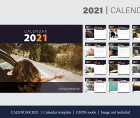 Travel background 2021 calendar template vector