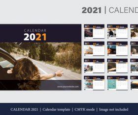 Travel background 2021 calendar template vector