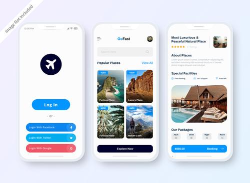 Travel hotel booking app vector
